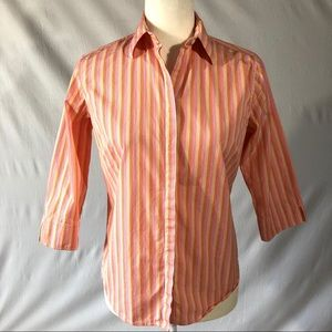 F. By Faconnable Striped 3/4 Sleeve Blouse